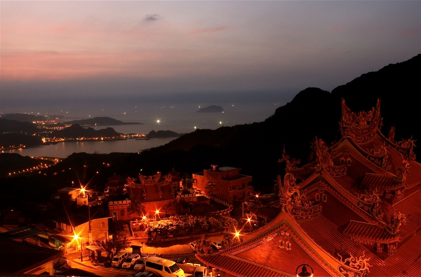 The view of northern Taiwan from red lantern town Jiufen.