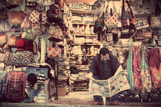Man selling bags. Istanbul, Turkey.